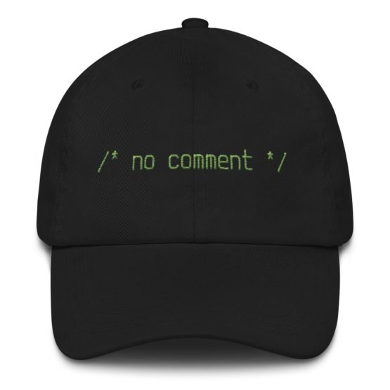 No Comment Dad Hat Black