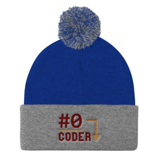 Number 0 Coder Pom Beanie Royal Heather Grey